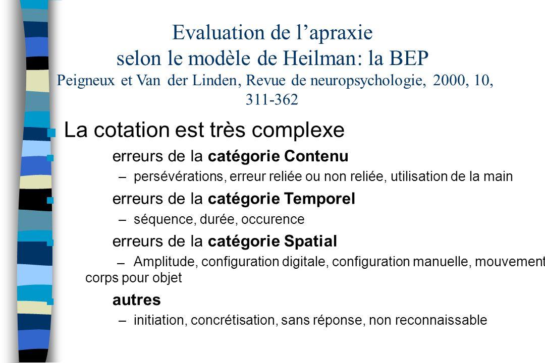 Evaluation de lapraxie selon le modèle deHeilman: la BEP Peigneuxet Vander Linden, Revue de neuropsychologie, 2000, 10, 311-362 n La cotation est très