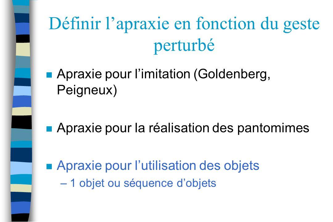 Définir lapraxie en fonction du geste perturbé n Apraxie pour limitation (Goldenberg, Peigneux) n Apraxie pour la réalisation des pantomimes n Apraxie