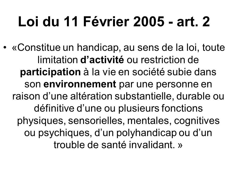 Loi du 11 Février 2005 - art. 2 «Constitue un handicap, au sens de la loi, toute limitation dactivité ou restriction de participation à la vie en soci