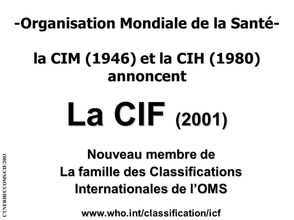 -Organisation Mondiale de la Santé- la CIM (1946) et la CIH (1980) annoncent La CIF (2001) Nouveau membre de La famille des Classifications Internatio
