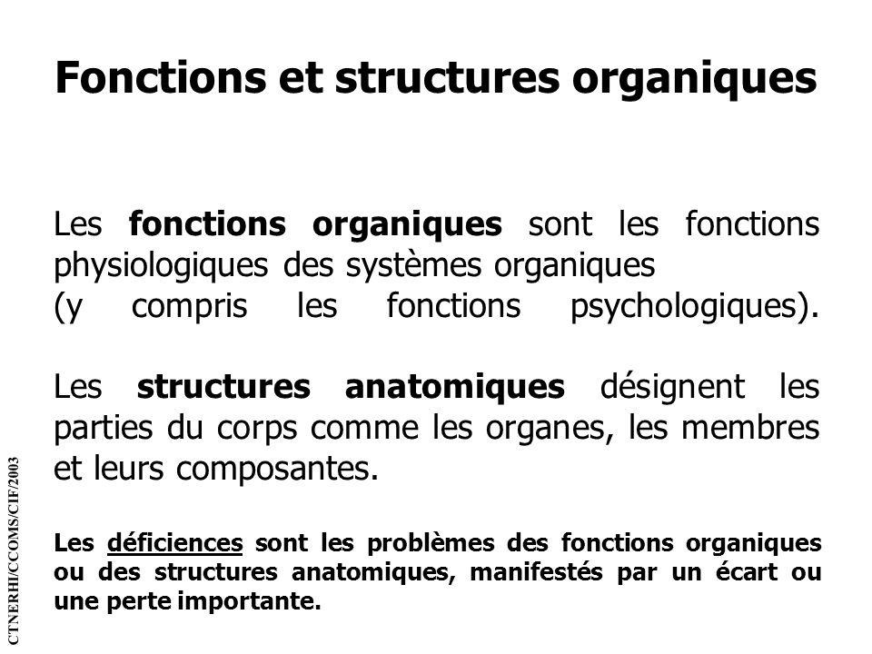 Fonctions et structures organiques Les fonctions organiques sont les fonctions physiologiques des systèmes organiques (y compris les fonctions psychol