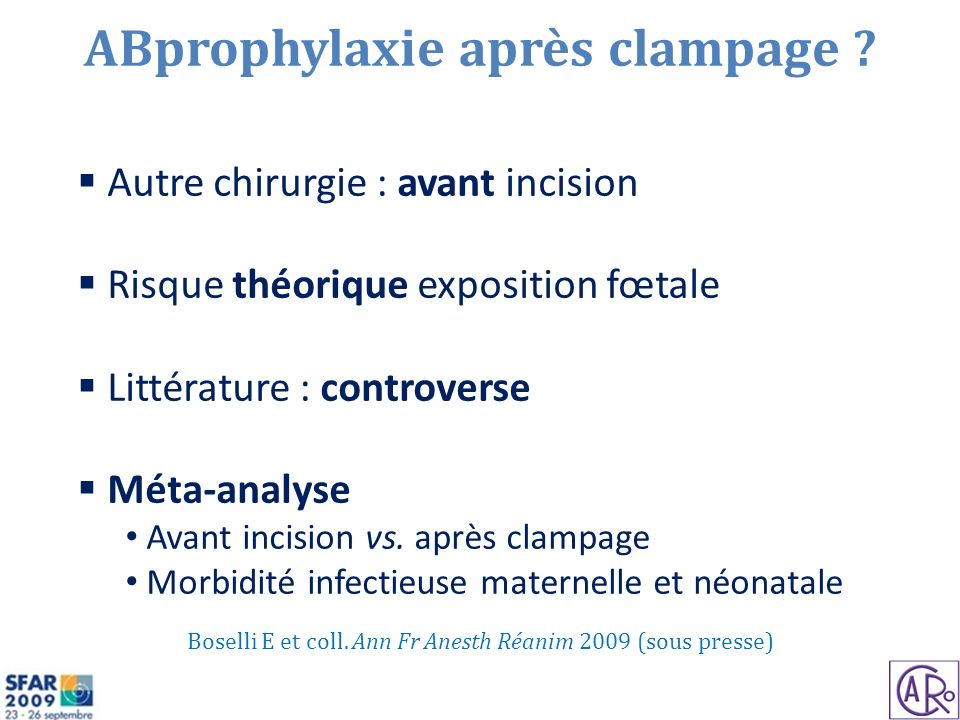 ABprophylaxie après clampage .