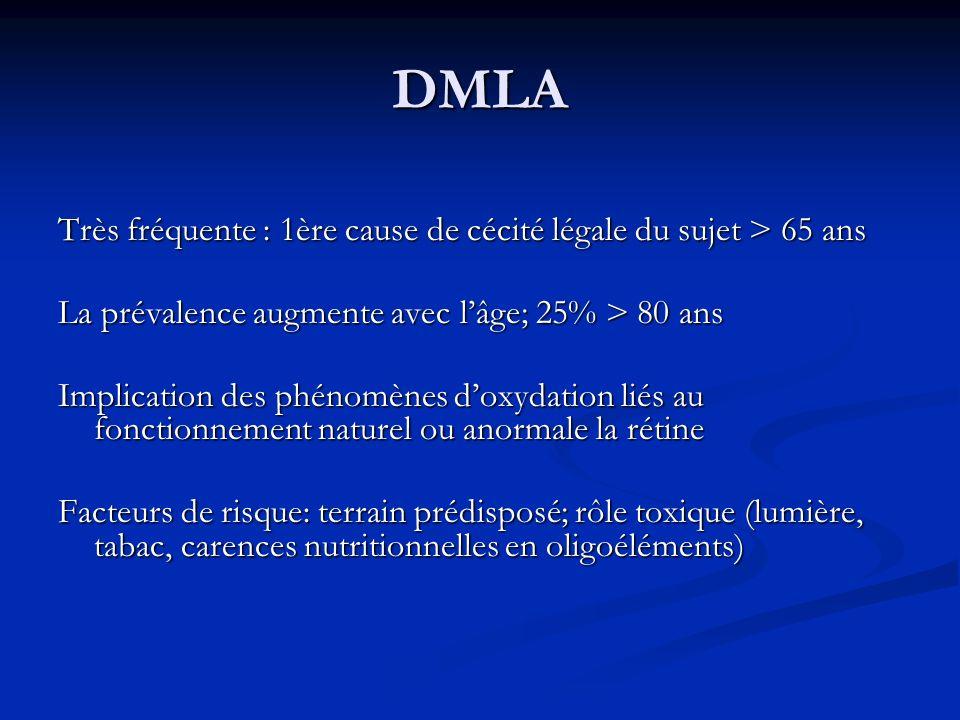 DMLA Très fréquente : 1ère cause de cécité légale du sujet > 65 ans La prévalence augmente avec lâge; 25% > 80 ans Implication des phénomènes doxydati