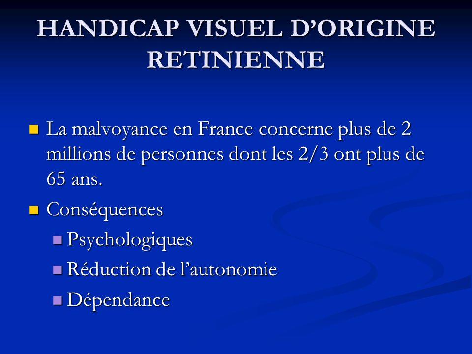 HANDICAP VISUEL DORIGINE RETINIENNE La malvoyance en France concerne plus de 2 millions de personnes dont les 2/3 ont plus de 65 ans. La malvoyance en