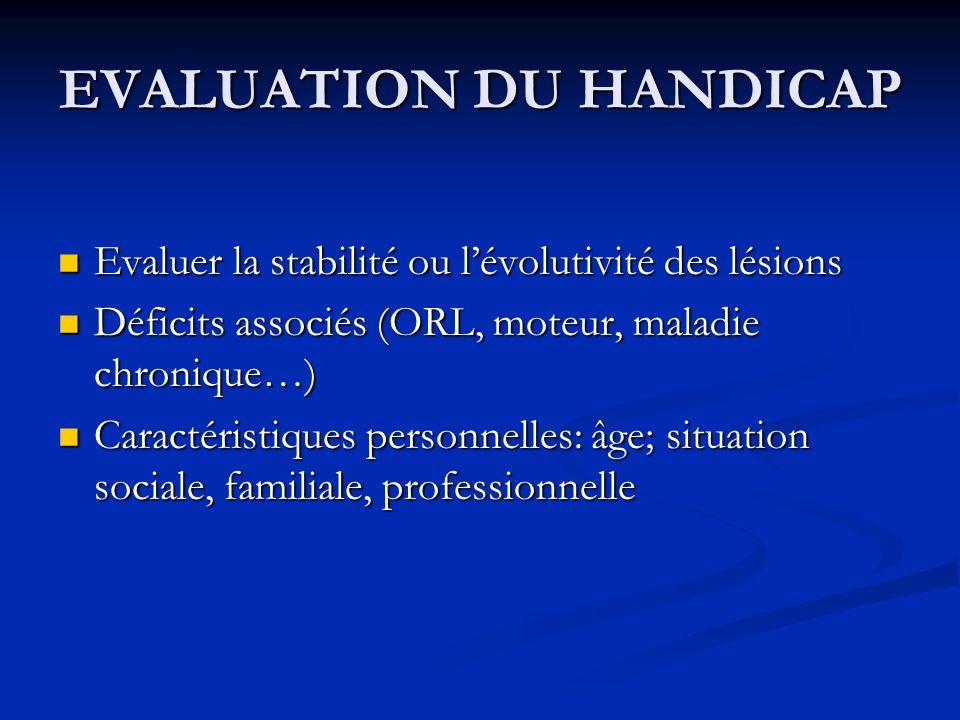 EVALUATION DU HANDICAP Evaluer la stabilité ou lévolutivité des lésions Evaluer la stabilité ou lévolutivité des lésions Déficits associés (ORL, moteu