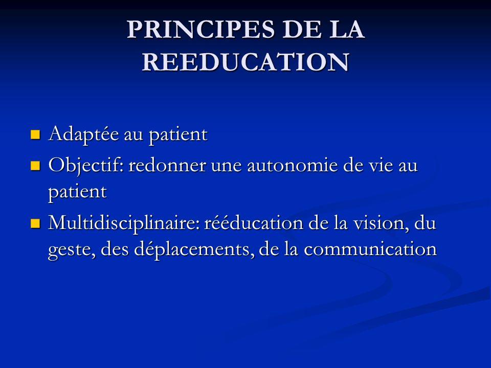 PRINCIPES DE LA REEDUCATION Adaptée au patient Adaptée au patient Objectif: redonner une autonomie de vie au patient Objectif: redonner une autonomie