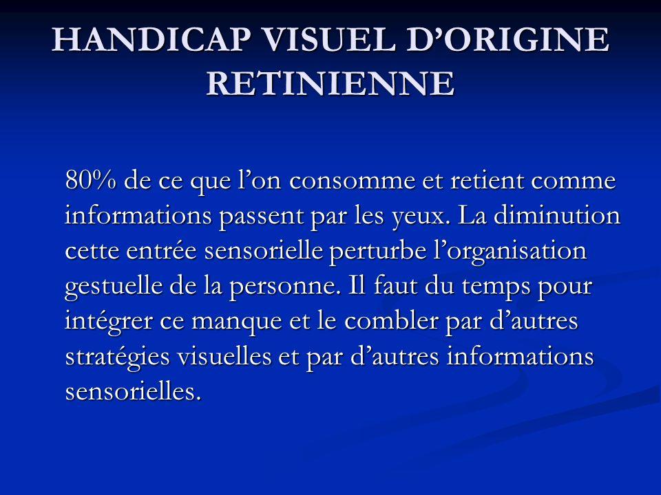 HANDICAP VISUEL DORIGINE RETINIENNE 80% de ce que lon consomme et retient comme informations passent par les yeux. La diminution cette entrée sensorie