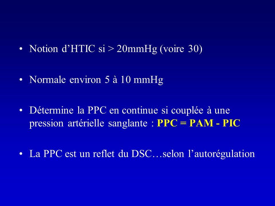 Notion dHTIC si > 20mmHg (voire 30) Normale environ 5 à 10 mmHg Détermine la PPC en continue si couplée à une pression artérielle sanglante : PPC = PA