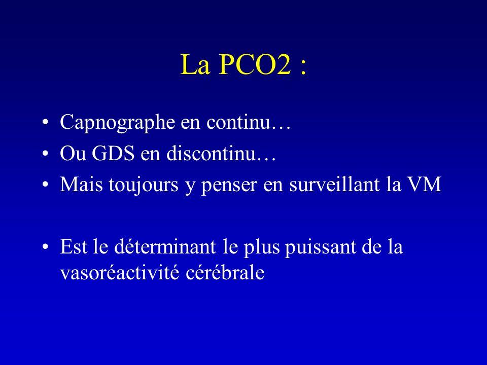La PCO2 : Capnographe en continu… Ou GDS en discontinu… Mais toujours y penser en surveillant la VM Est le déterminant le plus puissant de la vasoréac