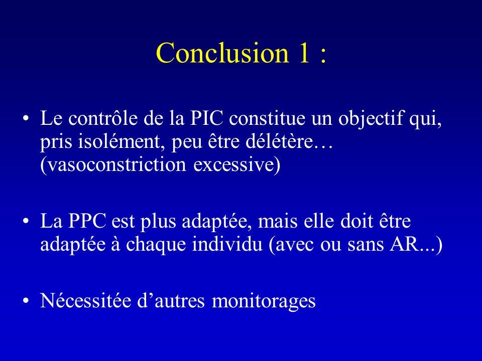 Le contrôle de la PIC constitue un objectif qui, pris isolément, peu être délétère… (vasoconstriction excessive) La PPC est plus adaptée, mais elle do
