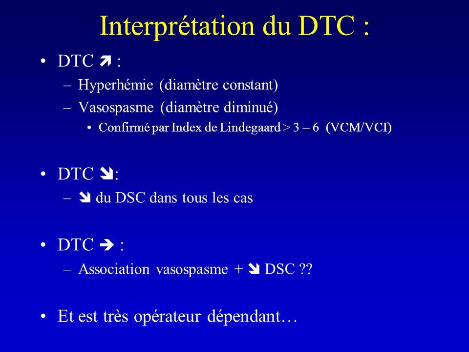 Interprétation du DTC : DTC : –Hyperhémie (diamètre constant) –Vasospasme (diamètre diminué) Confirmé par Index de Lindegaard > 3 – 6 (VCM/VCI) DTC :