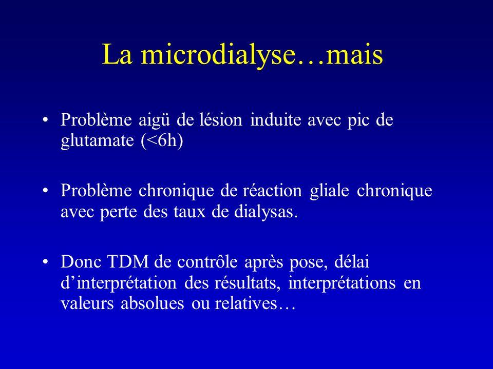 La microdialyse…mais Problème aigü de lésion induite avec pic de glutamate (<6h) Problème chronique de réaction gliale chronique avec perte des taux d