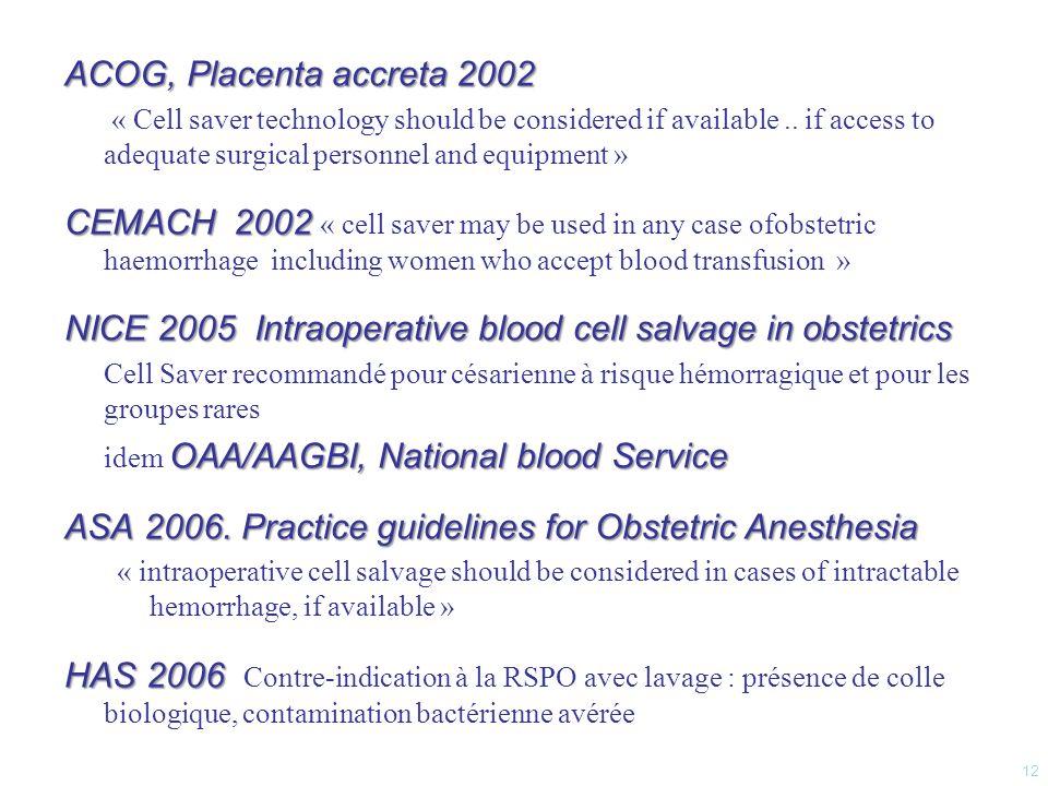 étude observationnelle prospective (juin 2007- mars 2011) objectif principal : impact sur épargne transfusionnelle objectifs secondaires : durée de séjour faisabilité de mise en place ont été inclues : - césariennes à haut risque hémorragique & utilisation du cell saver «CS+» - césariennes hémorragiques sur la même période «CS-» Analyses statistiques analyse multivariée comparaison «CS+» versus «CS –» 3 Sous-groupes saignement < 1500 ml (< 25% masse sanguine (MS) saignement 1500-3000 ml (25-50% MS) saignement > 3000 ml (> 50% MS) 13