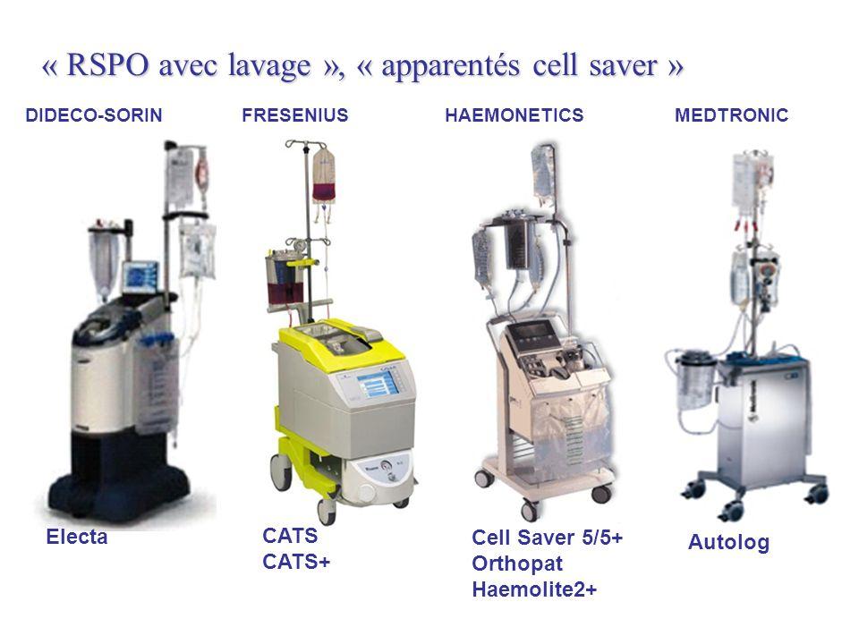 « RSPO avec lavage », « apparentés cell saver » FRESENIUSHAEMONETICSDIDECO-SORIN CATS CATS+ Autolog MEDTRONIC Cell Saver 5/5+ Orthopat Haemolite2+ Electa