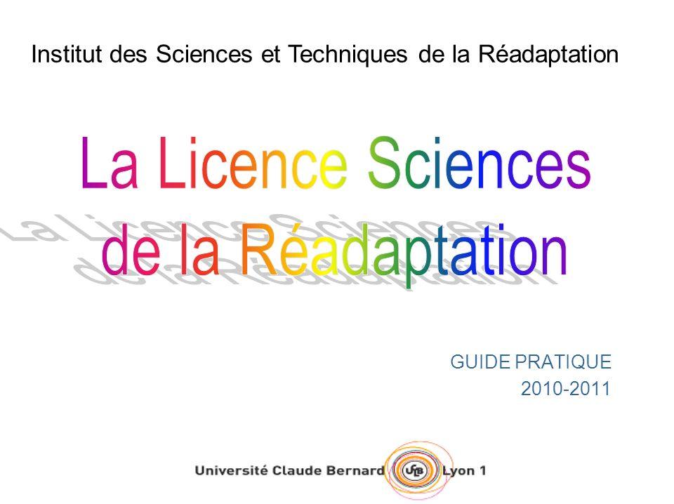 GUIDE PRATIQUE 2010-2011 Institut des Sciences et Techniques de la Réadaptation