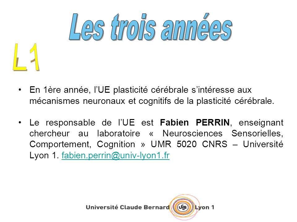 En 1ère année, lUE plasticité cérébrale sintéresse aux mécanismes neuronaux et cognitifs de la plasticité cérébrale.