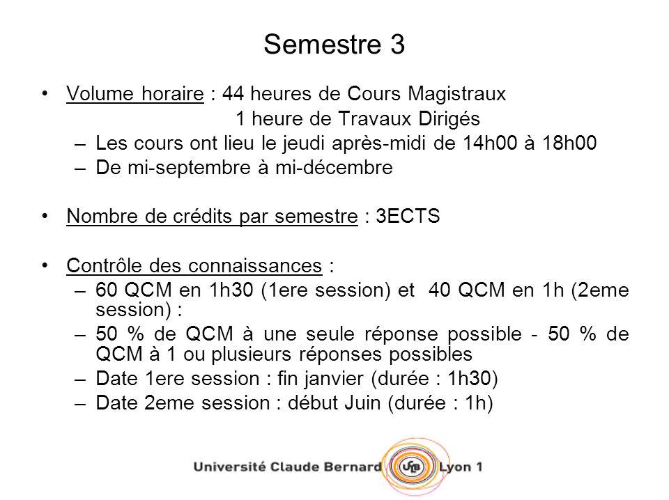 Semestre 3 Volume horaire : 44 heures de Cours Magistraux 1 heure de Travaux Dirigés –Les cours ont lieu le jeudi après-midi de 14h00 à 18h00 –De mi-septembre à mi-décembre Nombre de crédits par semestre : 3ECTS Contrôle des connaissances : –60 QCM en 1h30 (1ere session) et 40 QCM en 1h (2eme session) : –50 % de QCM à une seule réponse possible - 50 % de QCM à 1 ou plusieurs réponses possibles –Date 1ere session : fin janvier (durée : 1h30) –Date 2eme session : début Juin (durée : 1h)