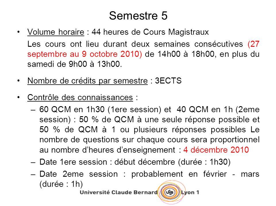 Semestre 5 Volume horaire : 44 heures de Cours Magistraux Les cours ont lieu durant deux semaines consécutives (27 septembre au 9 octobre 2010) de 14h00 à 18h00, en plus du samedi de 9h00 à 13h00.