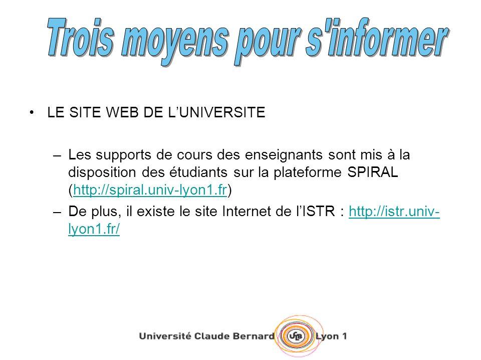 LE SITE WEB DE LUNIVERSITE –Les supports de cours des enseignants sont mis à la disposition des étudiants sur la plateforme SPIRAL (http://spiral.univ-lyon1.fr)http://spiral.univ-lyon1.fr –De plus, il existe le site Internet de lISTR : http://istr.univ- lyon1.fr/http://istr.univ- lyon1.fr/