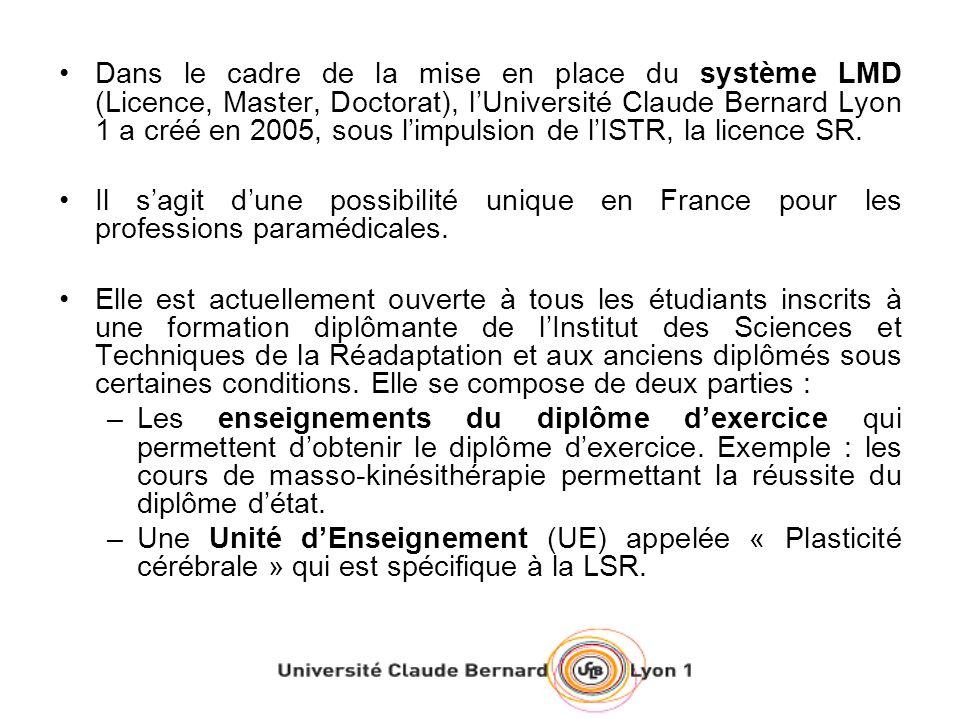 Dans le cadre de la mise en place du système LMD (Licence, Master, Doctorat), lUniversité Claude Bernard Lyon 1 a créé en 2005, sous limpulsion de lISTR, la licence SR.