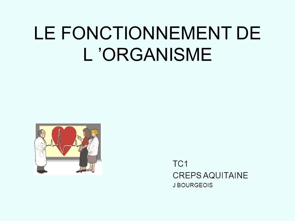 LE FONCTIONNEMENT DE L ORGANISME TC1 CREPS AQUITAINE J BOURGEOIS