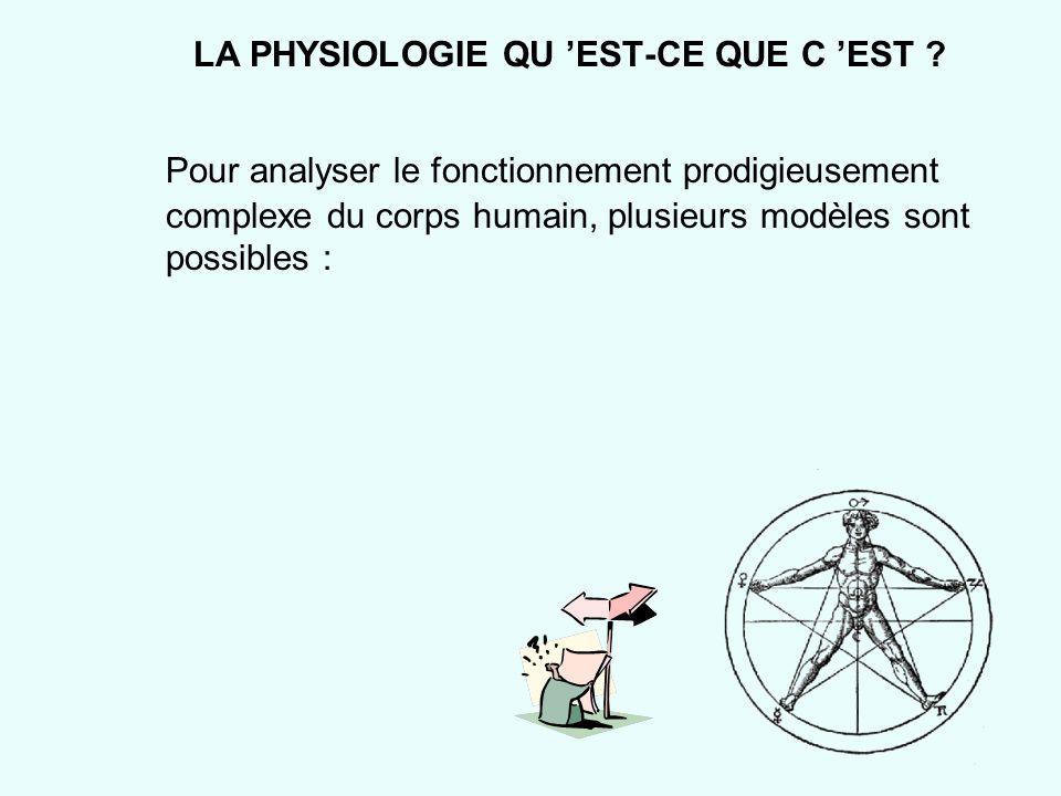 LA PHYSIOLOGIE QU EST-CE QUE C EST ? Pour analyser le fonctionnement prodigieusement complexe du corps humain, plusieurs modèles sont possibles :