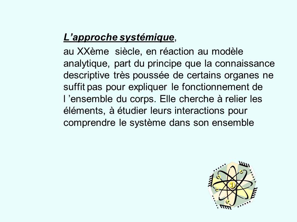 Lapproche systémique, au XXème siècle, en réaction au modèle analytique, part du principe que la connaissance descriptive très poussée de certains org