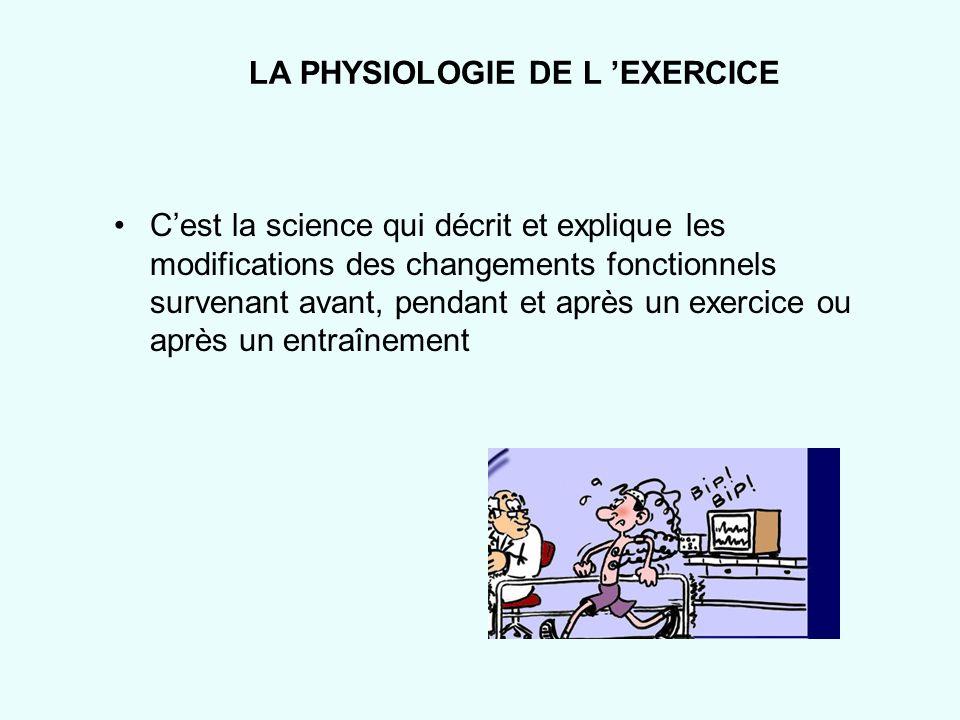 LA PHYSIOLOGIE DE L EXERCICE Cest la science qui décrit et explique les modifications des changements fonctionnels survenant avant, pendant et après u