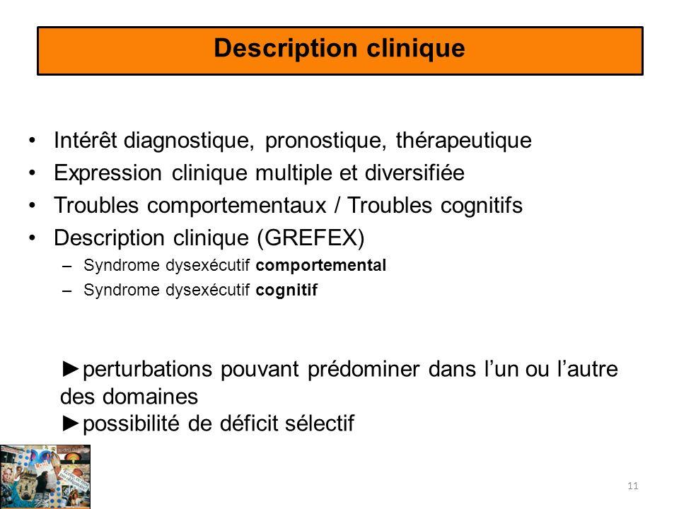 Description clinique Intérêt diagnostique, pronostique, thérapeutique Expression clinique multiple et diversifiée Troubles comportementaux / Troubles