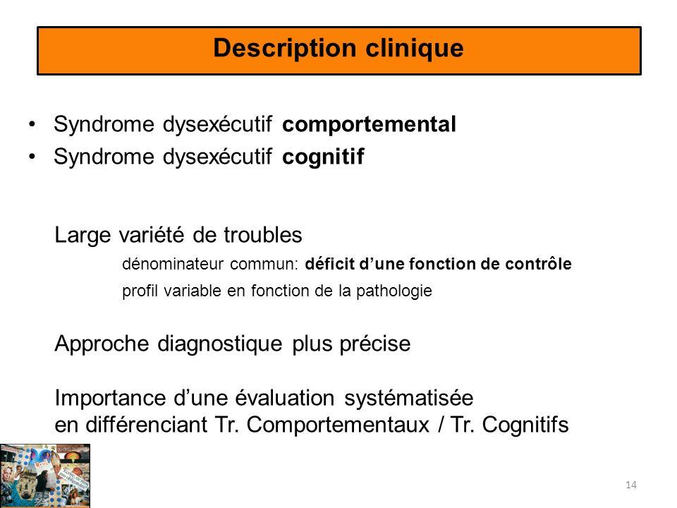 Description clinique Syndrome dysexécutif comportemental Syndrome dysexécutif cognitif 14 Large variété de troubles dénominateur commun: déficit dune