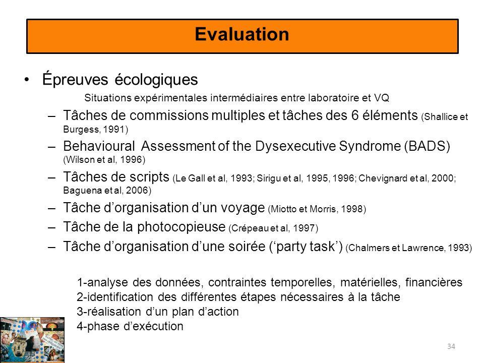 Evaluation Épreuves écologiques Situations expérimentales intermédiaires entre laboratoire et VQ –Tâches de commissions multiples et tâches des 6 éléments (Shallice et Burgess, 1991) –Behavioural Assessment of the Dysexecutive Syndrome (BADS) (Wilson et al, 1996) –Tâches de scripts (Le Gall et al, 1993; Sirigu et al, 1995, 1996; Chevignard et al, 2000; Baguena et al, 2006) –Tâche dorganisation dun voyage (Miotto et Morris, 1998) –Tâche de la photocopieuse (Crépeau et al, 1997) –Tâche dorganisation dune soirée (party task) (Chalmers et Lawrence, 1993) 34 1-analyse des données, contraintes temporelles, matérielles, financières 2-identification des différentes étapes nécessaires à la tâche 3-réalisation dun plan daction 4-phase dexécution