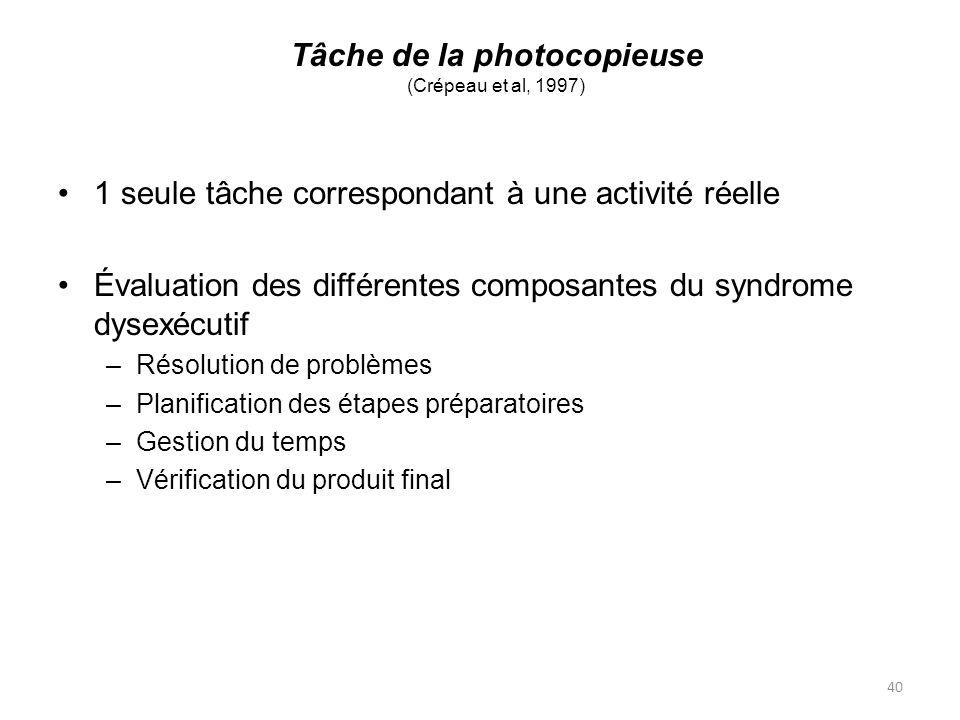 40 Tâche de la photocopieuse (Crépeau et al, 1997) 1 seule tâche correspondant à une activité réelle Évaluation des différentes composantes du syndrom