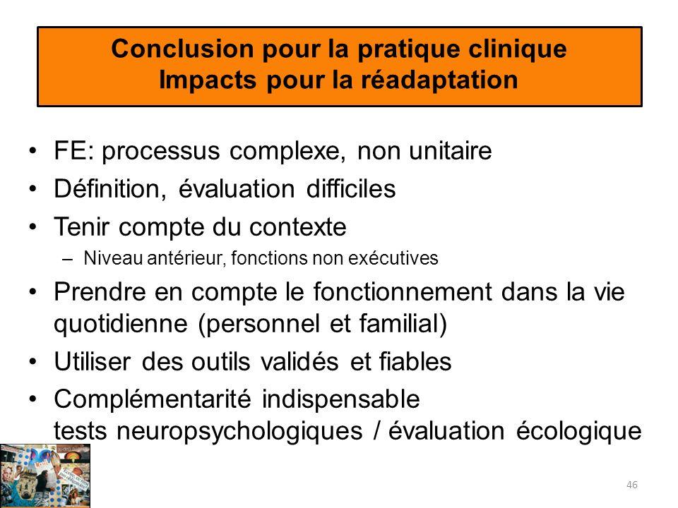 Conclusion pour la pratique clinique Impacts pour la réadaptation FE: processus complexe, non unitaire Définition, évaluation difficiles Tenir compte