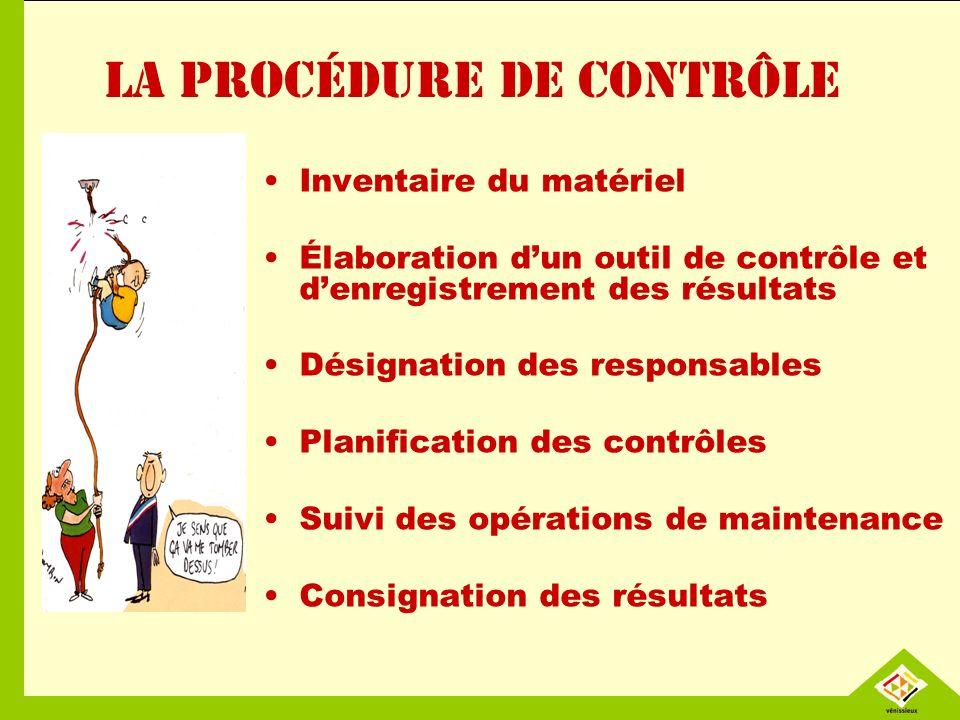 La procédure de contrôle Inventaire du matériel Élaboration dun outil de contrôle et denregistrement des résultats Désignation des responsables Planif