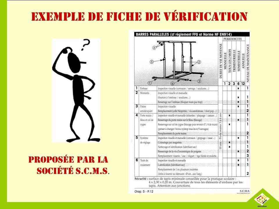 Exemple de fiche de vérification Proposée par la société S.C.M.S.