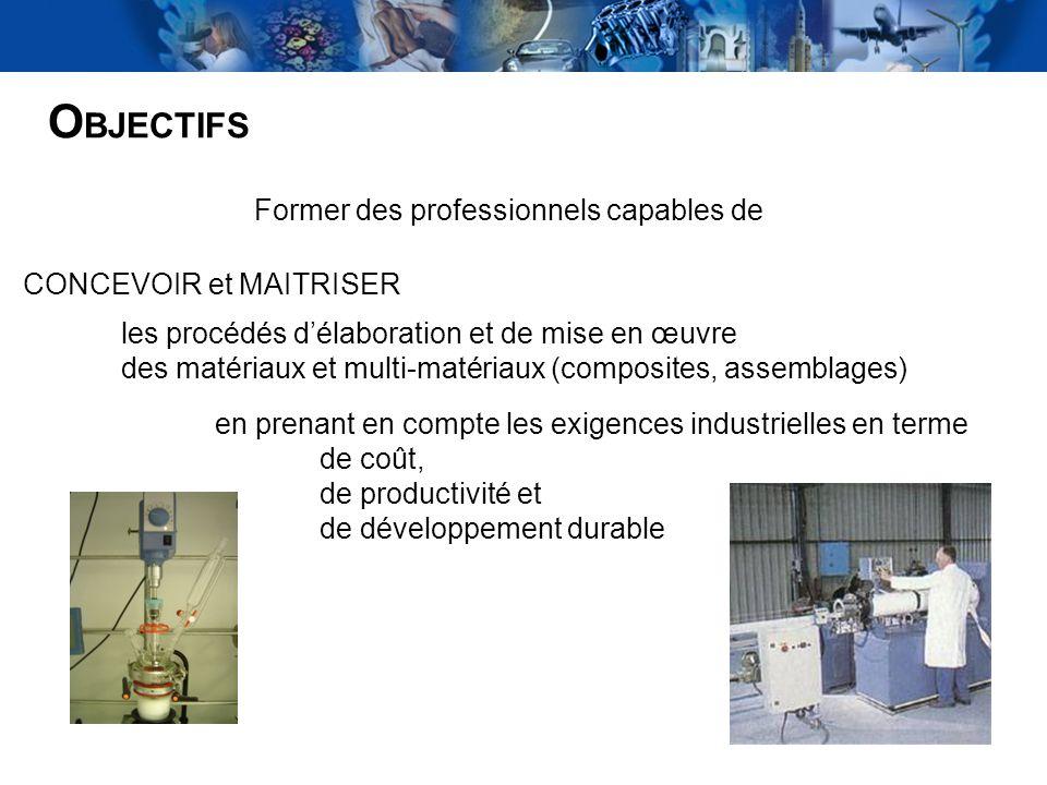 2 O BJECTIFS Former des professionnels capables de CONCEVOIR et MAITRISER les procédés délaboration et de mise en œuvre des matériaux et multi-matéria