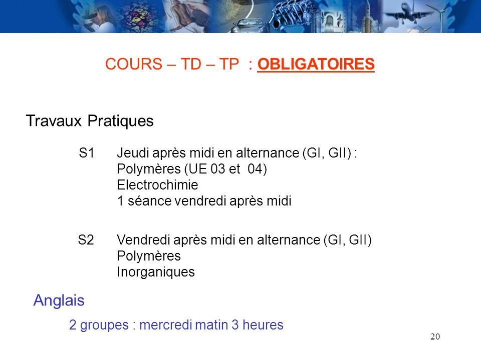 20 COURS – TD – TP : OBLIGATOIRES Travaux Pratiques Jeudi après midi en alternance (GI, GII) : Polymères (UE 03 et 04) Electrochimie 1 séance vendredi