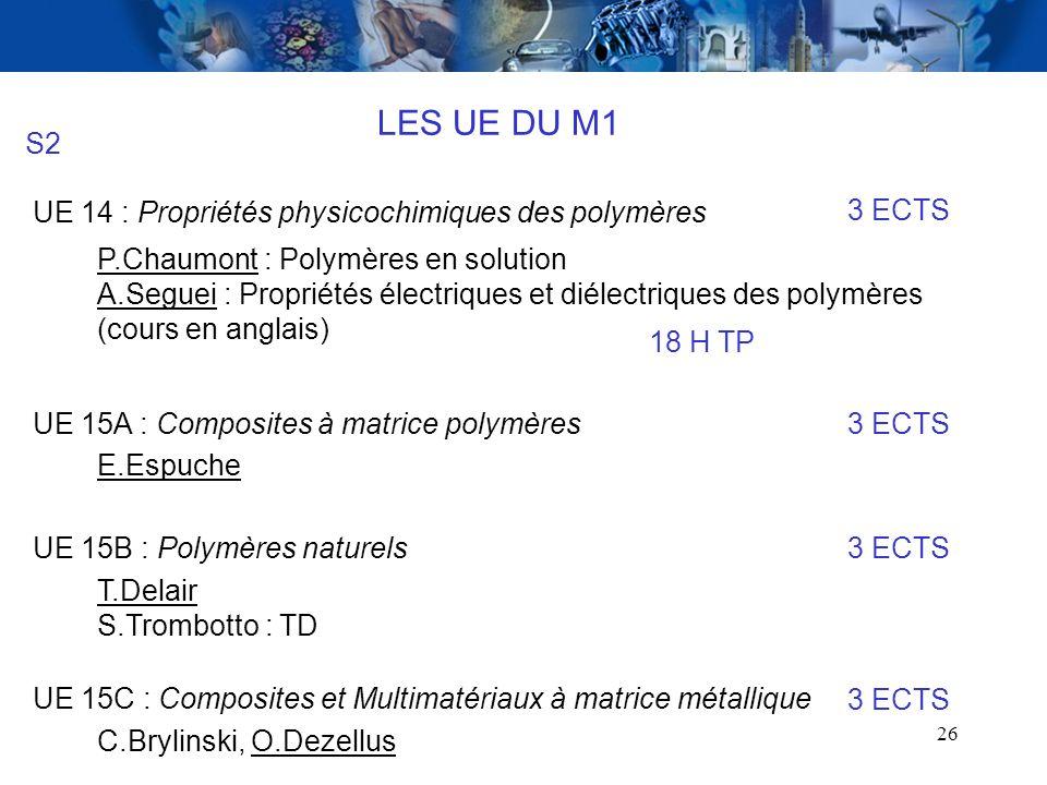 26 LES UE DU M1 S2 UE 14 : Propriétés physicochimiques des polymères P.Chaumont : Polymères en solution A.Seguei : Propriétés électriques et diélectri