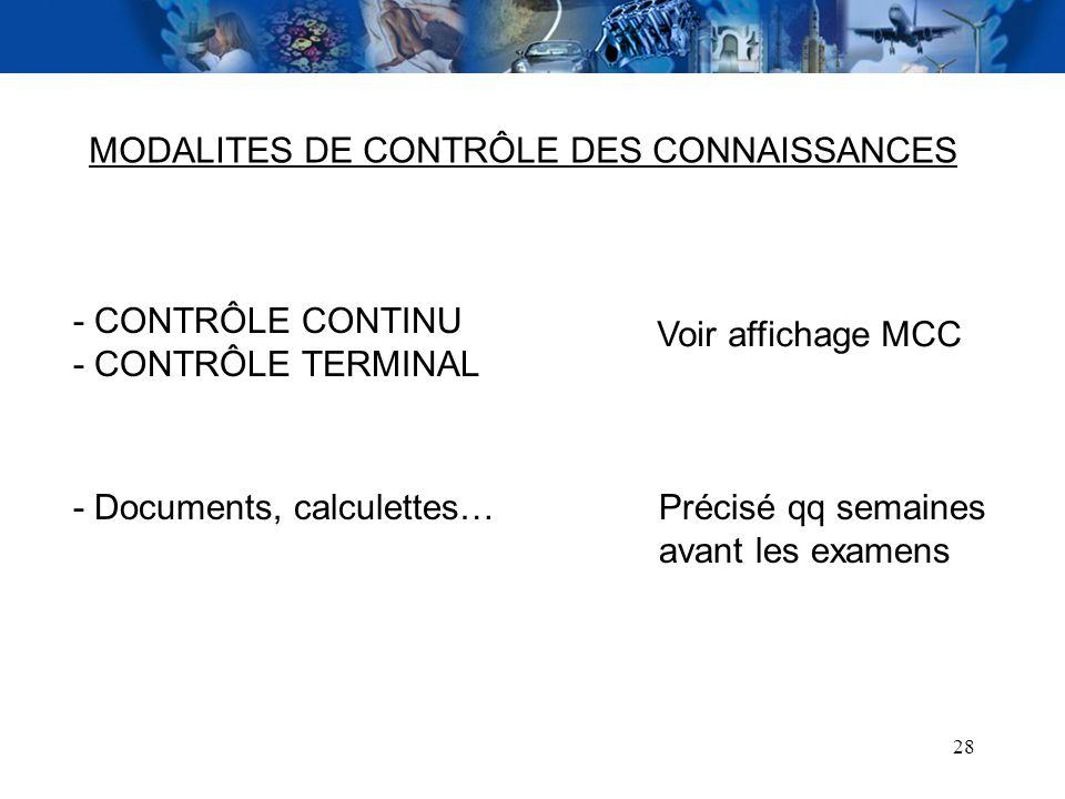 28 MODALITES DE CONTRÔLE DES CONNAISSANCES - CONTRÔLE CONTINU - CONTRÔLE TERMINAL Voir affichage MCC - Documents, calculettes…Précisé qq semaines avan