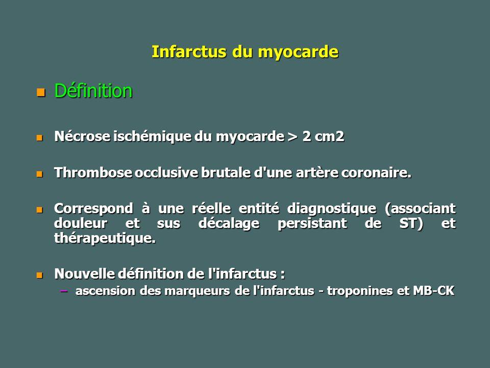 Infarctus du myocarde Définition Définition Nécrose ischémique du myocarde > 2 cm2 Nécrose ischémique du myocarde > 2 cm2 Thrombose occlusive brutale d une artère coronaire.