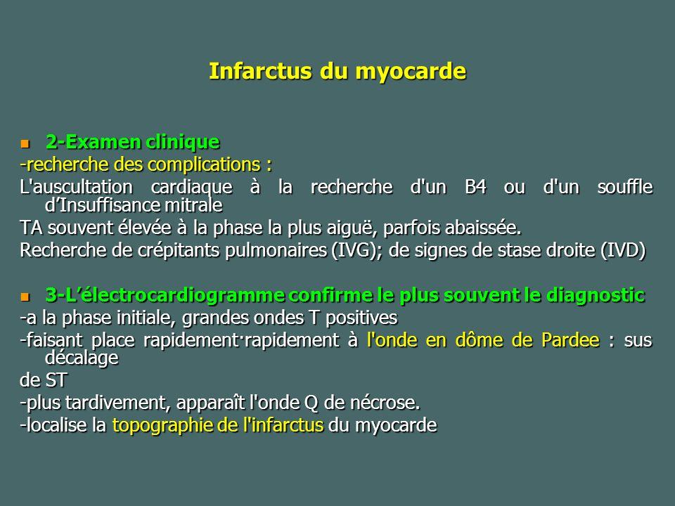 Infarctus du myocarde 2-Examen clinique 2-Examen clinique -recherche des complications : L auscultation cardiaque à la recherche d un B4 ou d un souffle dInsuffisance mitrale TA souvent élevée à la phase la plus aiguë, parfois abaissée.