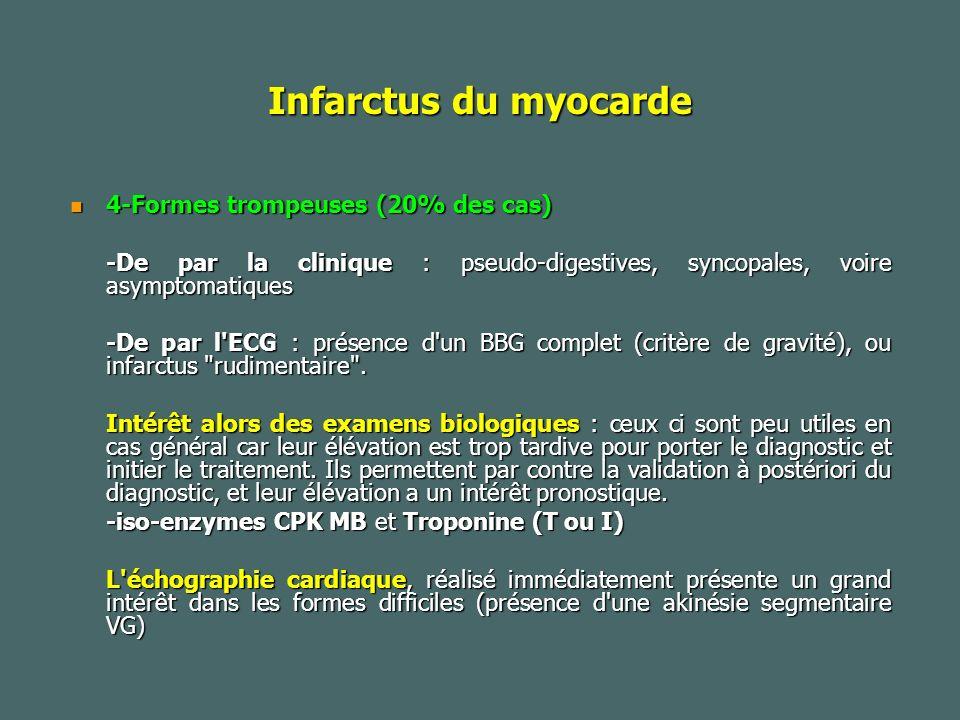 Infarctus du myocarde 4-Formes trompeuses (20% des cas) 4-Formes trompeuses (20% des cas) -De par la clinique : pseudo-digestives, syncopales, voire asymptomatiques -De par l ECG : présence d un BBG complet (critère de gravité), ou infarctus rudimentaire .