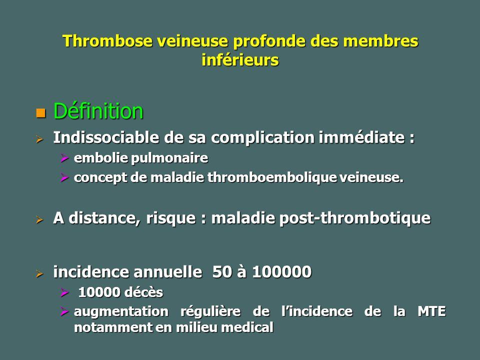 Thrombose veineuse profonde des membres inférieurs Définition Définition Indissociable de sa complication immédiate : Indissociable de sa complication immédiate : embolie pulmonaire embolie pulmonaire concept de maladie thromboembolique veineuse.