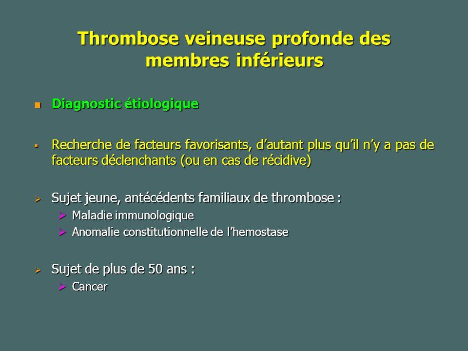 Thrombose veineuse profonde des membres inférieurs Diagnostic étiologique Diagnostic étiologique Recherche de facteurs favorisants, dautant plus quil ny a pas de facteurs déclenchants (ou en cas de récidive) Recherche de facteurs favorisants, dautant plus quil ny a pas de facteurs déclenchants (ou en cas de récidive) Sujet jeune, antécédents familiaux de thrombose : Sujet jeune, antécédents familiaux de thrombose : Maladie immunologique Maladie immunologique Anomalie constitutionnelle de lhemostase Anomalie constitutionnelle de lhemostase Sujet de plus de 50 ans : Sujet de plus de 50 ans : Cancer Cancer