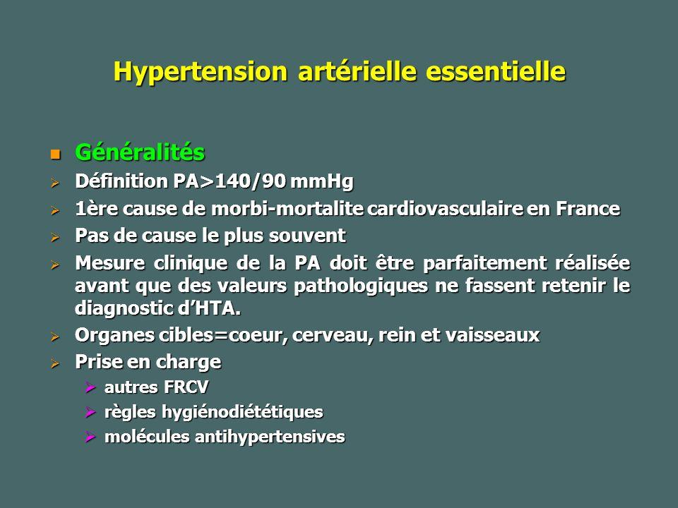 Hypertension artérielle essentielle Généralités Généralités Définition PA>140/90 mmHg Définition PA>140/90 mmHg 1ère cause de morbi-mortalite cardiovasculaire en France 1ère cause de morbi-mortalite cardiovasculaire en France Pas de cause le plus souvent Pas de cause le plus souvent Mesure clinique de la PA doit être parfaitement réalisée avant que des valeurs pathologiques ne fassent retenir le diagnostic dHTA.