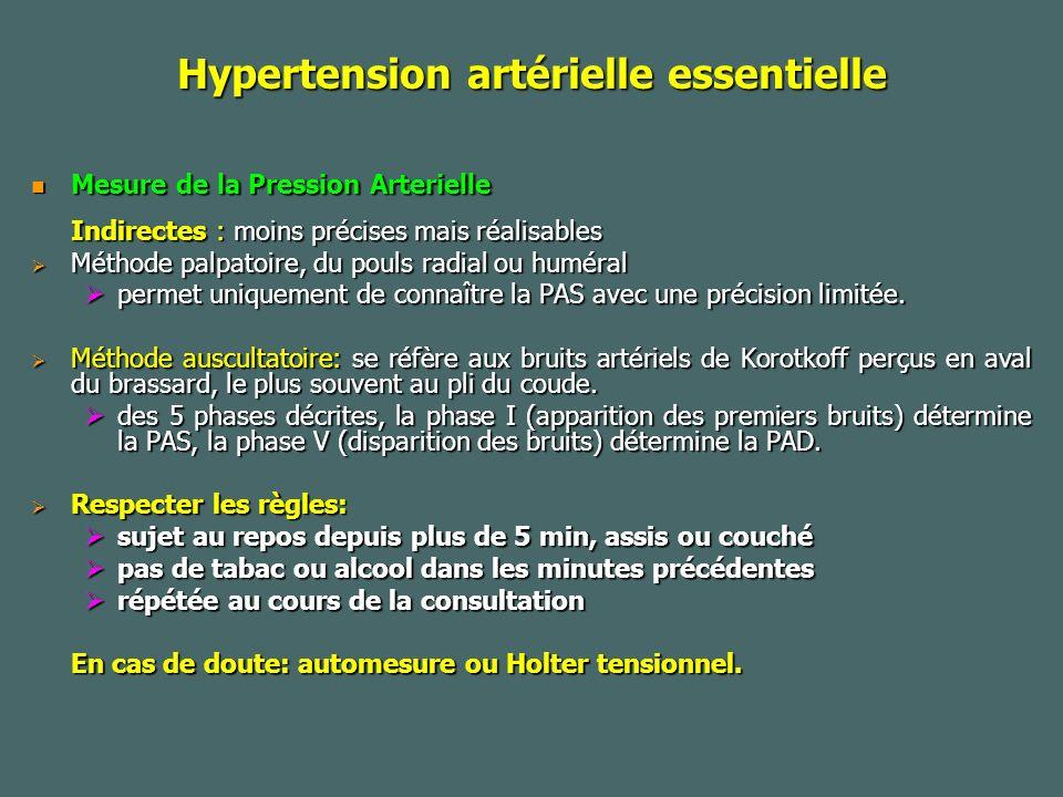 Hypertension artérielle essentielle Mesure de la Pression Arterielle Mesure de la Pression Arterielle Indirectes : moins précises mais réalisables Méthode palpatoire, du pouls radial ou huméral Méthode palpatoire, du pouls radial ou huméral permet uniquement de connaître la PAS avec une précision limitée.