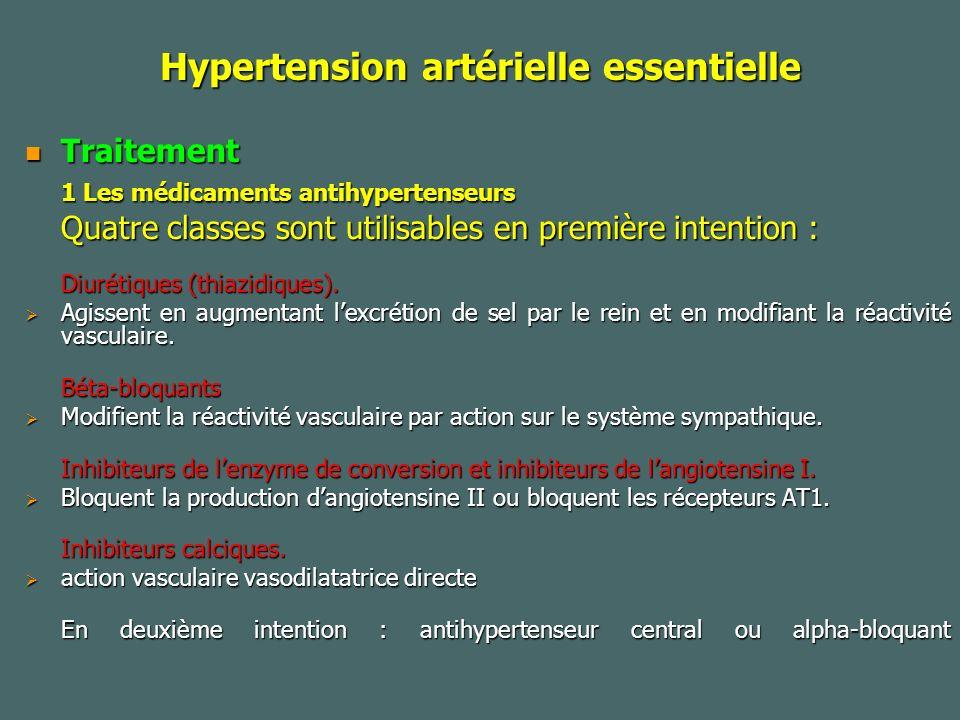 Hypertension artérielle essentielle Traitement Traitement 1 Les médicaments antihypertenseurs Quatre classes sont utilisables en première intention : Diurétiques (thiazidiques).