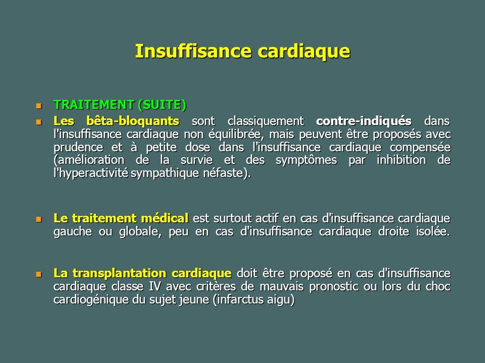 Insuffisance cardiaque TRAITEMENT (SUITE) TRAITEMENT (SUITE) Les bêta-bloquants sont classiquement contre-indiqués dans l insuffisance cardiaque non équilibrée, mais peuvent être proposés avec prudence et à petite dose dans l insuffisance cardiaque compensée (amélioration de la survie et des symptômes par inhibition de l hyperactivité sympathique néfaste).