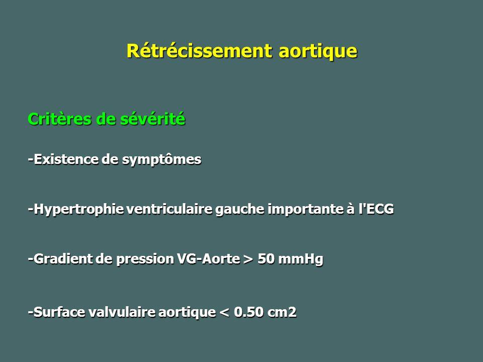 Rétrécissement aortique Critères de sévérité -Existence de symptômes -Hypertrophie ventriculaire gauche importante à l ECG -Gradient de pression VG-Aorte > 50 mmHg -Surface valvulaire aortique < 0.50 cm2