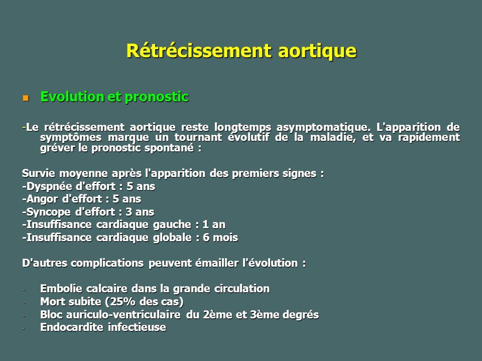 Rétrécissement aortique Evolution et pronostic Evolution et pronostic -Le rétrécissement aortique reste longtemps asymptomatique.
